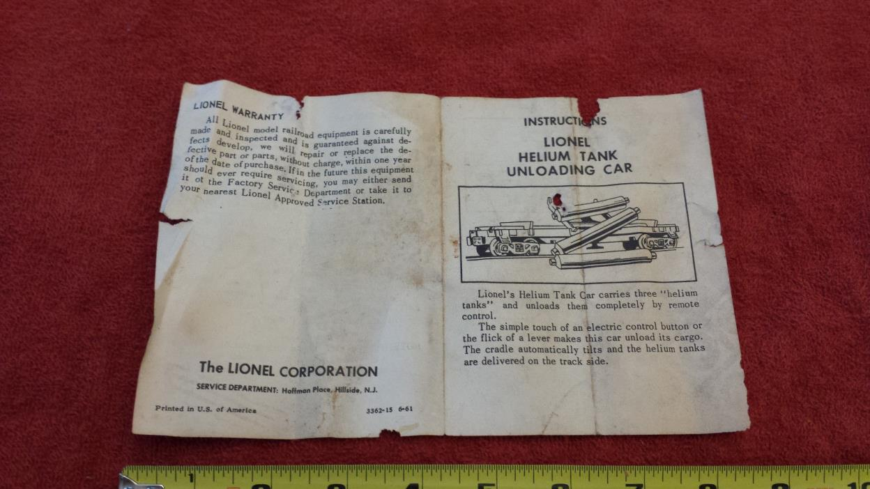 Lionel 1960's era 3362 Helium Tank Unloading Car Instructions 3362-15 6-61