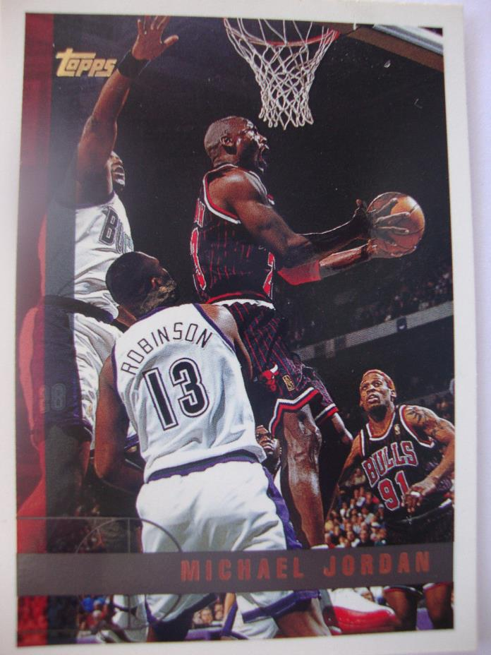 MICHAEL JORDAN, 1997,TOPPS, NBA, Chicago Bulls, Card Number 123, Used, protected