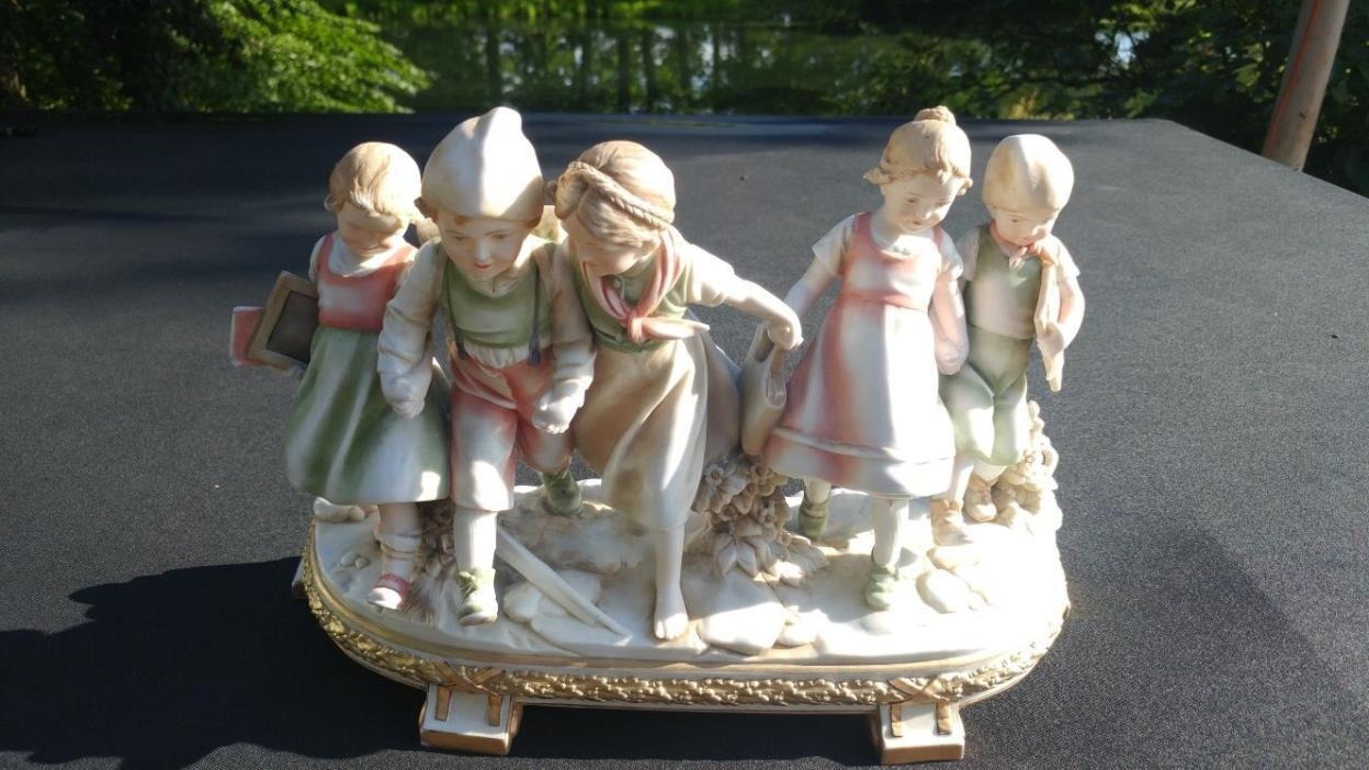 Large E.A Muller porcelain figure. Estate find! Children holding hands.1890-1927