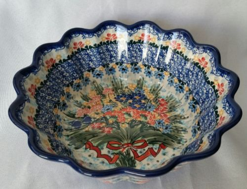 UNIKAT POTTERY M STARZYK SCALLOPED BOWL 3161 SPECIAL BOUQUET EDITION POLAND NEW