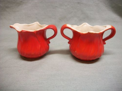 Antique Ceramic Pottery Orange Tulip Open Sugar & Creamer