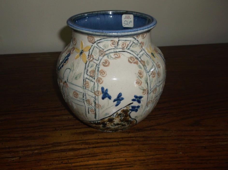 Ceramic and whimsical handpainted pottery vase
