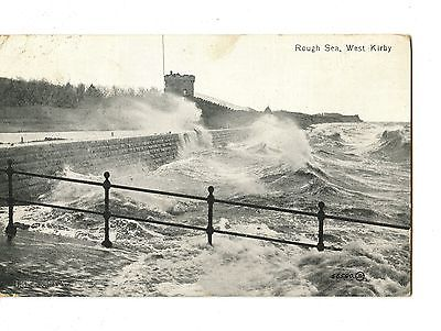 Old post card postcard UK  Rough Sea West Kirby waves wind
