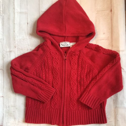 N Kids Size 3t Knit Red Zip Up Sweater