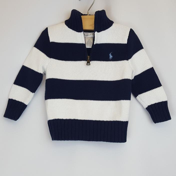 Ralph Lauren Polo Baby Boy Cotton Knit 1/4 Zip Striped Pullover Sweater 12 month