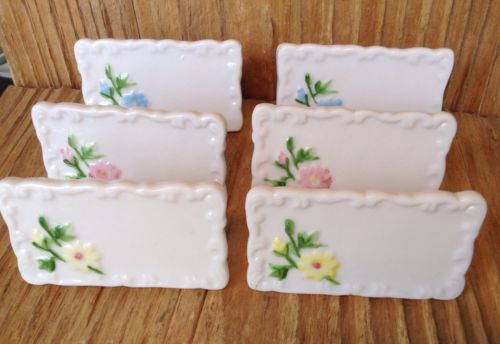 Vintage SHAFFORD Reusable Dinner Table Ceramic Place Card Set #224 Floral Taiwan