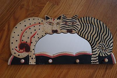 VINTAGE LAUREL BURCH WOODEN CATS  MIRROR/ HANGER / WALL DECOR