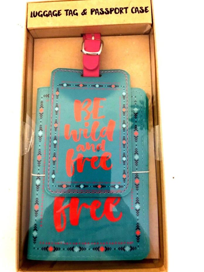 Brand New! Passport Holder Case & Luggage Tag Be Wild and Free Teal/pink/multi