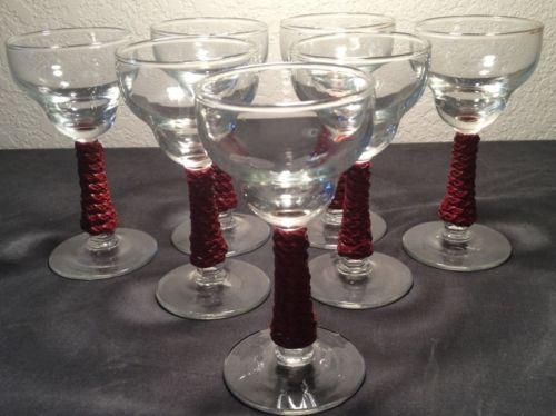 6 VINTAGE Cordial GLASSES  Liquor  Stem Ware LOT (RARE)
