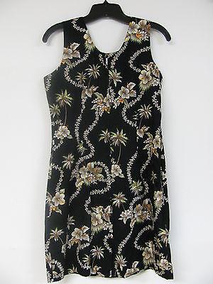 Kys Hawaiian Sleeveless Tank Dress Size Large Black Floral Hibiscus Zipper Back