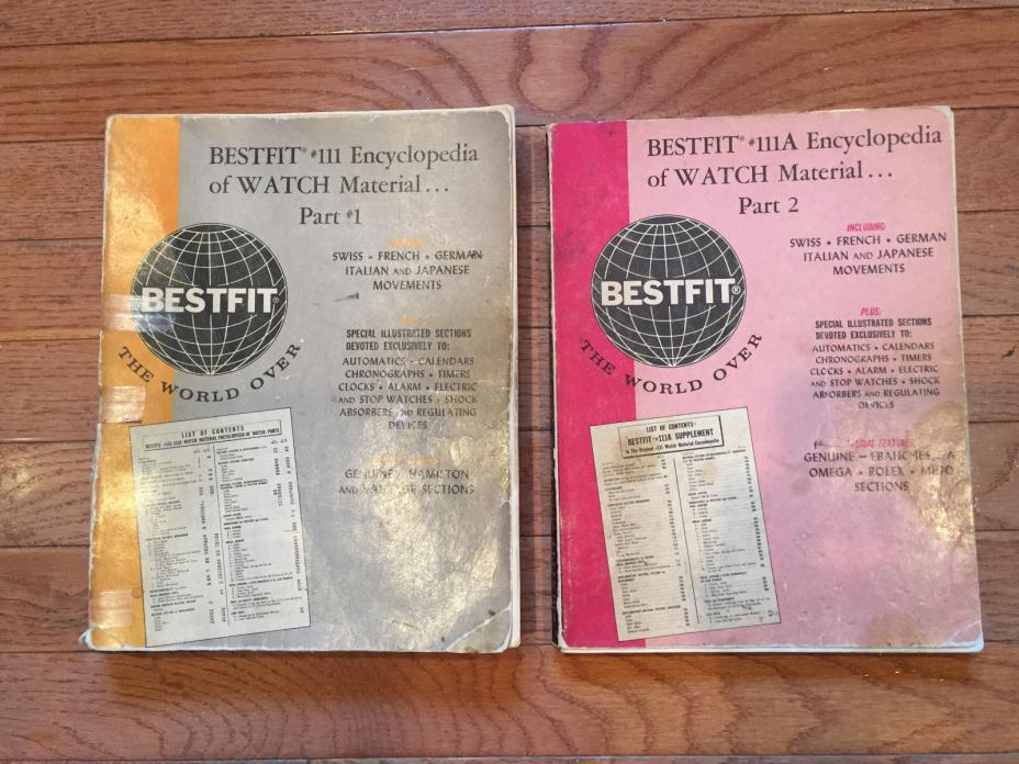 Bestfit #111 & 111A ENCYCLOPEDIA OF WATCH MATERIAL PART# 1&2 - 3rd Ed 1965