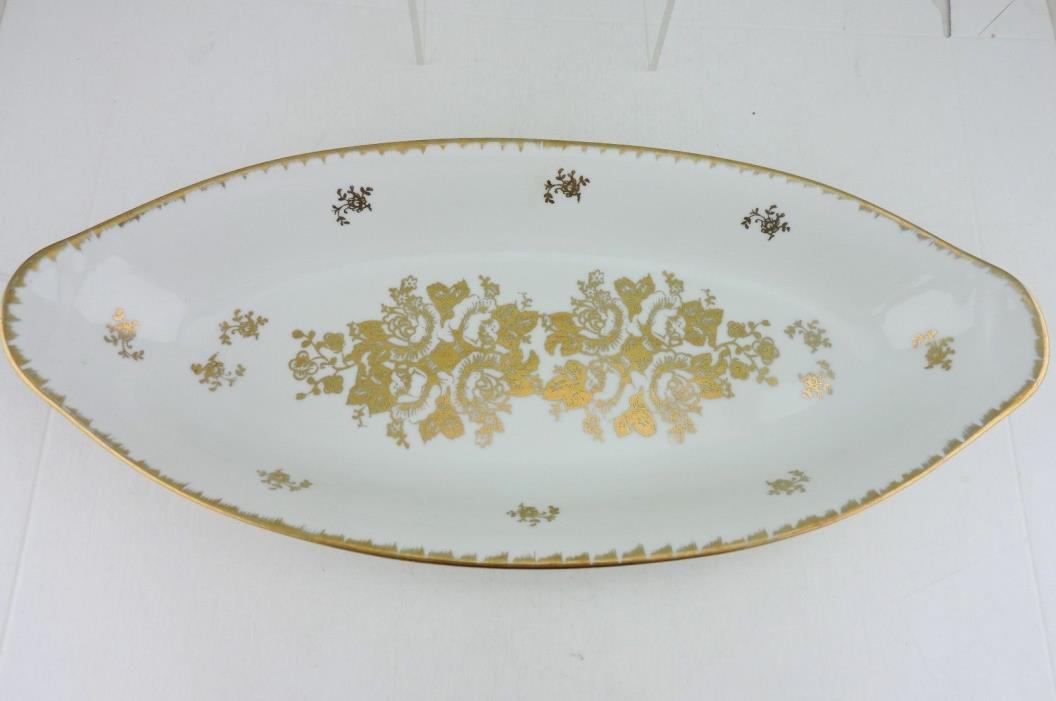 VINTAGE HAND PAINTED WHITE & GOLD ROSE FLOWERS OVAL SERVING CELERY DISH FRANCE
