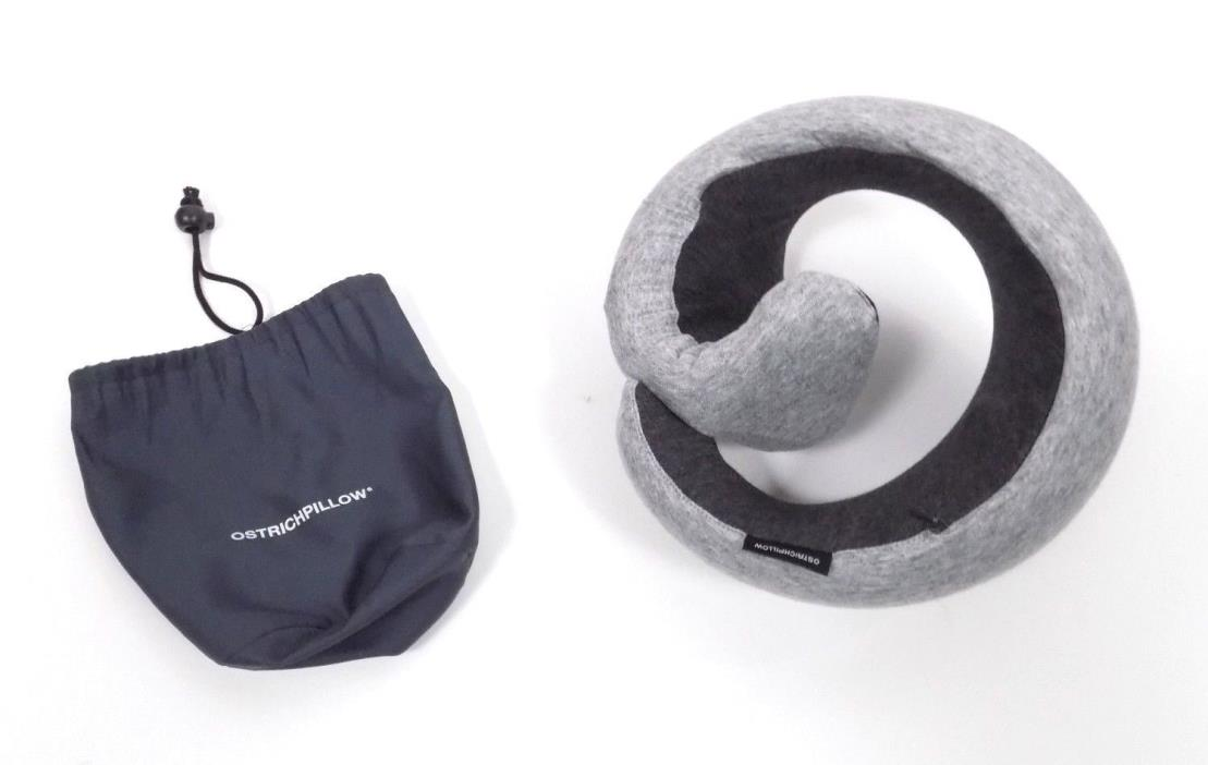 Ostrich Pillow Go Travel Pillow Grey Gray Charcoal Neck Support Memory Foam EUC