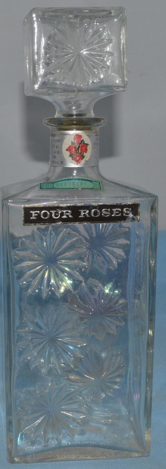 Post Prohibition Law Liquor Decanter Bottle Flower Glass Four Roses Empty