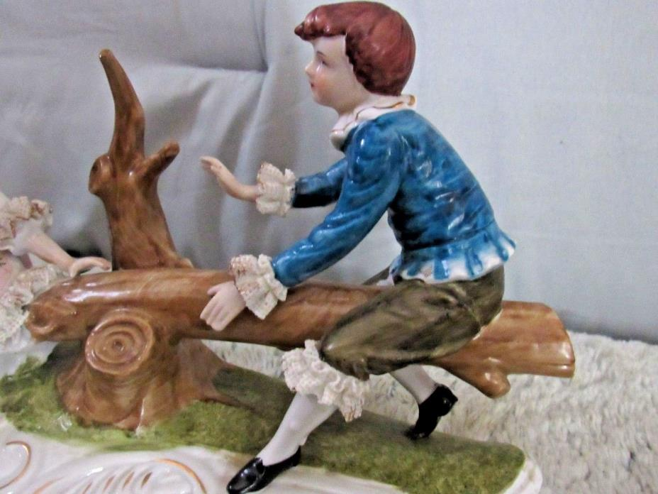 Estate > PAIR Children Figure's VICTORIAN CLOTHING on TREE LIMB SEA-SAW