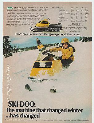 1973 Ski Doo Elan Snowmobile Original Vintage Ad 1970s snowmobiles wall art