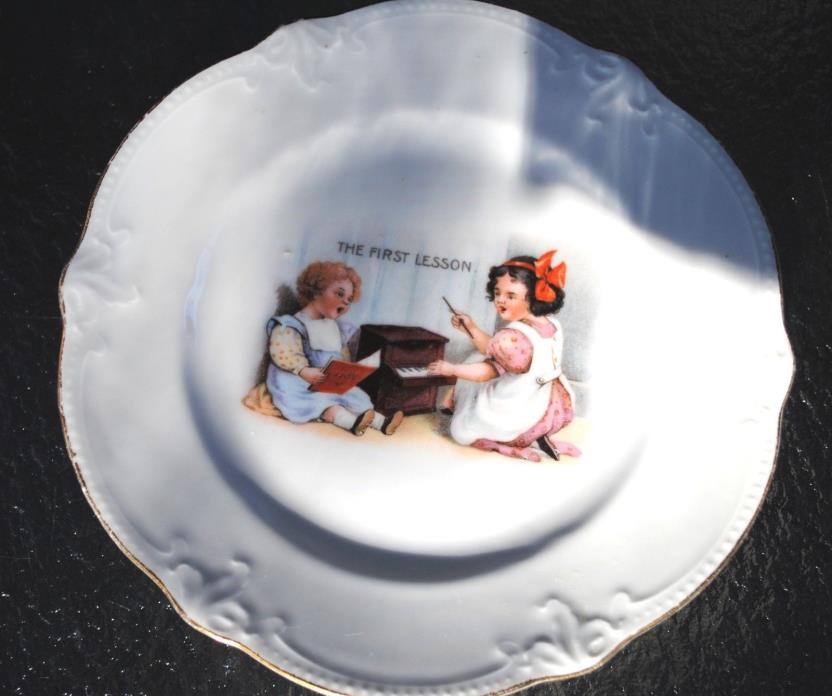 Vintage K&L Germany Porcelain Child Baby Plate - The First Lesson