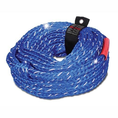 Airhead Deluxe BLING Reflective Tube Tow Rope 60' BLUE 6-Rider - AHTR-16BL