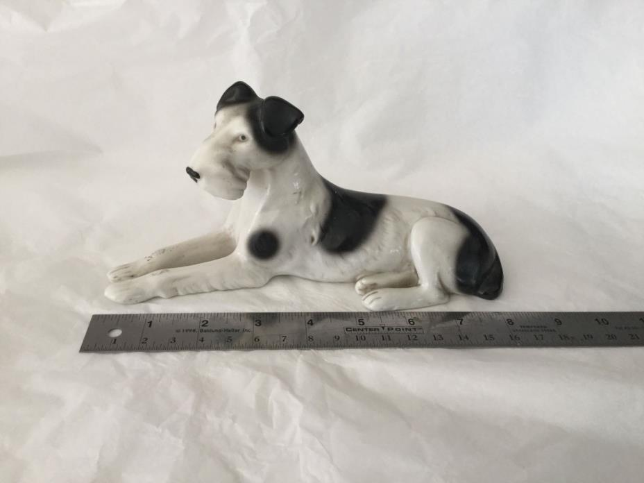 Vintage Germany porcelain lying Airedale terrier 8