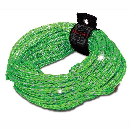 Airhead Deluxe BLING Reflective Tube Tow Rope 60' GREEN 2-Rider - AHTR-12BL