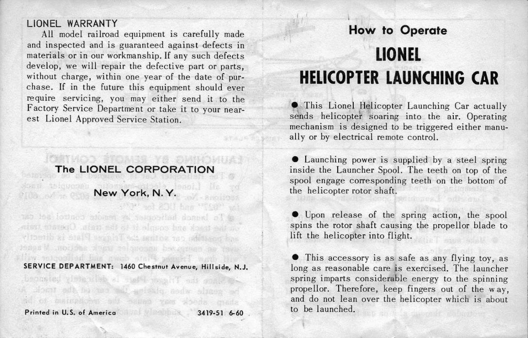 Lionel Paper - 3419 Helicopter Car Operating Instructions Original Small Version