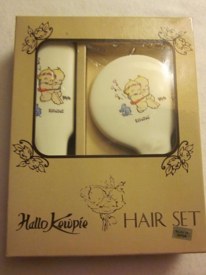 VINTAGE Hallo Kewpie Hair Care Set by Rose O'neill Brush and mirror New Box
