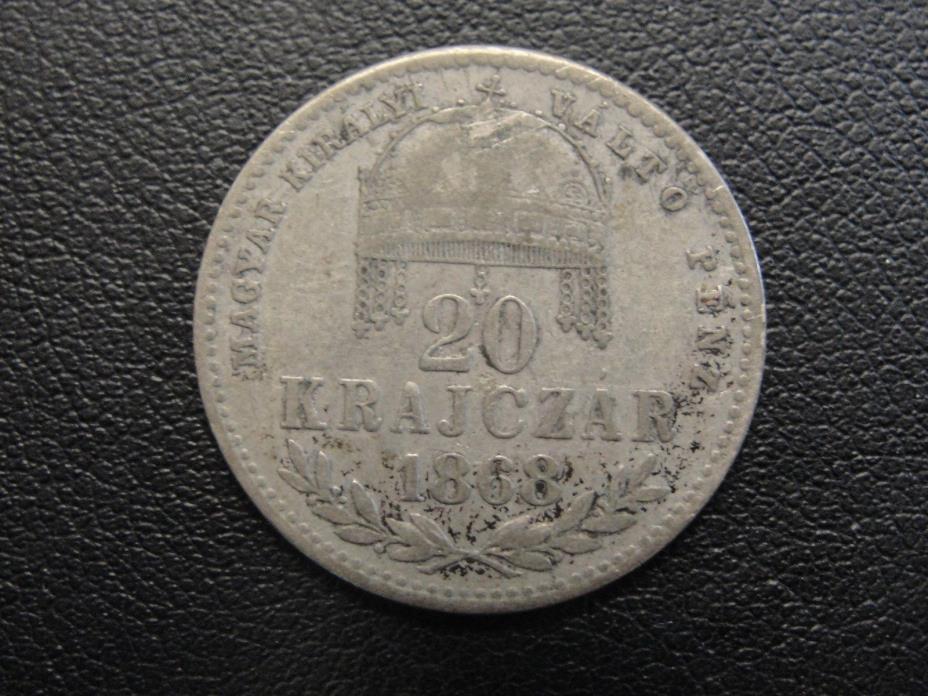 1869 KB Hungary 20 Krajczar Silver Coin