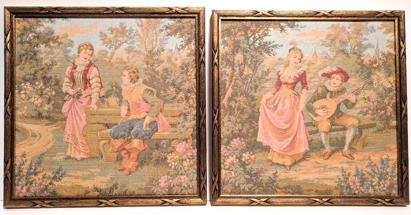 Vintage Corona Decor Co. Framed Tapestry Wall Art Set of 2 Beautiful Pastoral
