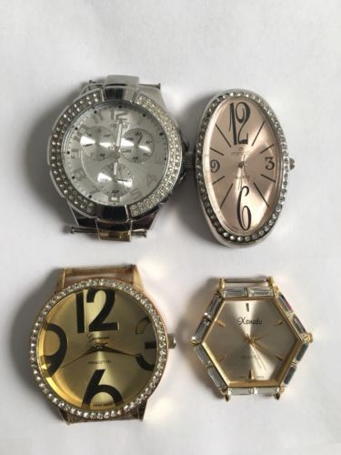 LOTS OF 6 VINTAGE BRAND NAME WATCHES FOR PARTS AND REPAIR GUESS, GENEVA AND MORE