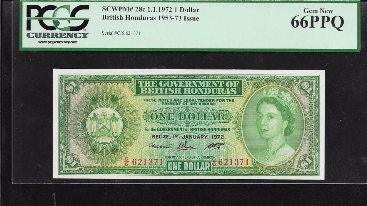 British Honduras  1 dollar  1972  PCGS 66 Gem unc
