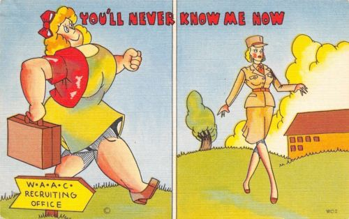 WACS WWII Military Comic~Womens Army Corp~Never Know Me Now!~Fat to Skinny~1943