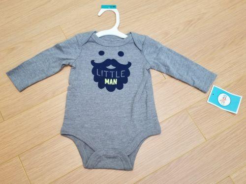NEW Circo Baby Boys size 0/3M long sleeve Beard (Little Man) bodysuit Gray