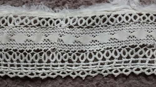 Antique Tatted Lace Ivory Flounce Trim Salvage Handmade Vintage