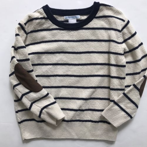 Janie & Jack Size 3 Cream/Blue Sweater Striped Brown Elbow Patches Boys