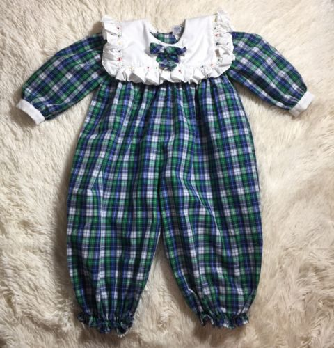 Petit Ami Blue Green White Long Sleeve Romper 6 Months