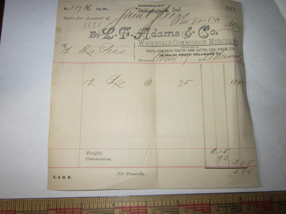 Antique 1887 L.T. Adams & Co. Indianapolis Indiana Receipt Commission Merchants