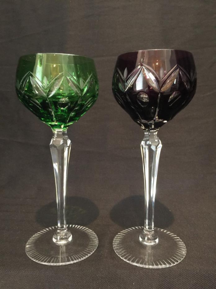 VINTAGE CUT CRYSTAL WINE HOCK GLASSES ROUNDED BOWL 1 GREEN 1 PURPLE  SET 2