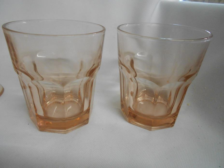 Libbey's pink glass vintage on the rocks drink cocktail bar ware glasses