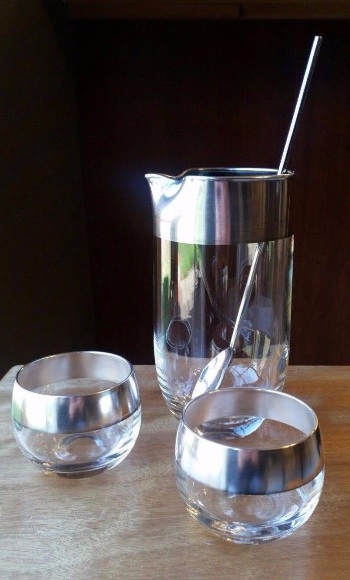 VTG Dorothy Thorpe Silver Band Couples Cocktail Set Mixing Glass & 2 Roly Poly