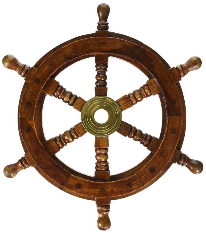 Wooden Ship Steering Wheel Boat Nautical Room Wall Pirate Decor Beach Wood Brass