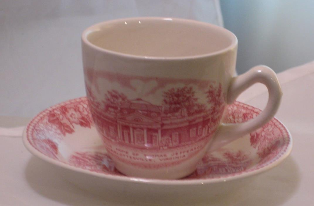 Antique Monticello House of Thomas Jefferson Porcelain Teacup & Saucer Set