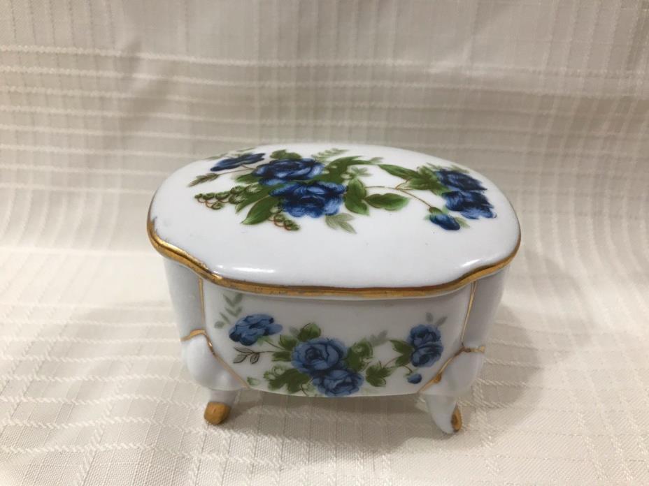 Vintage Porcelain Footed Jewelry-Trinket-Keepsake Box w/ Blue Roses Gold Trim