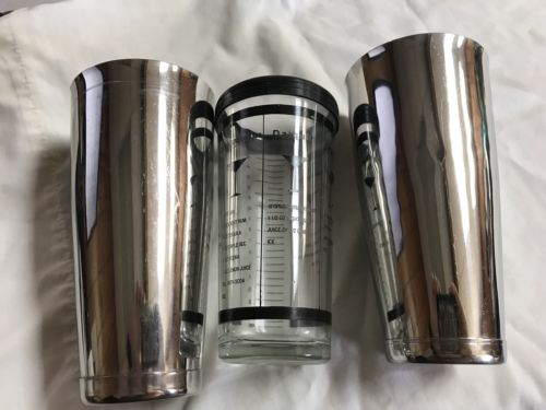 Glass Cocktail Shaker w/ 2 Stainless Mix Cups