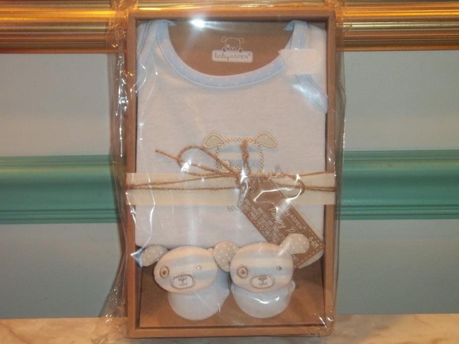 Baby Aspen Boys 2 Piece Puppy Pal Bodysuit and Socks Gift Set ~ 0-6M NEW!!!