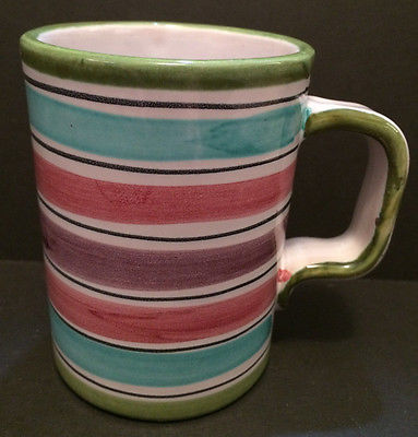 Striped Pottery Coffee Mug Tea Cup Squared Handle Signed Numbered Design Studio