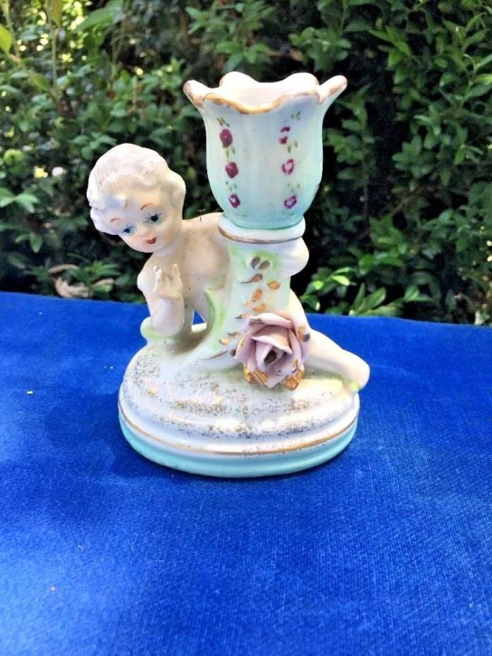 Antique Decorative Painted Porcelain Candle Holder NAKED CHERUB Pink Rose Flower