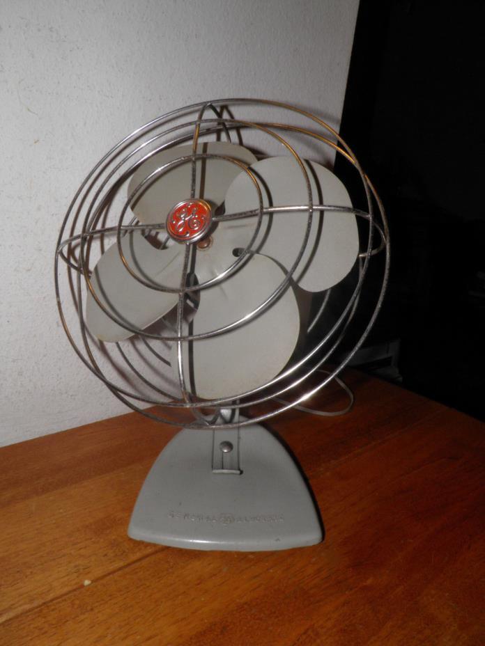 Vtg Art Deco General Electric GE Grey Hang Desk Metal Oscillating Fan Works 14in