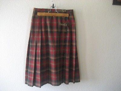 Ladies Pendleton Wool Highland pleated wrap skirt Kilt Tartan Size 10