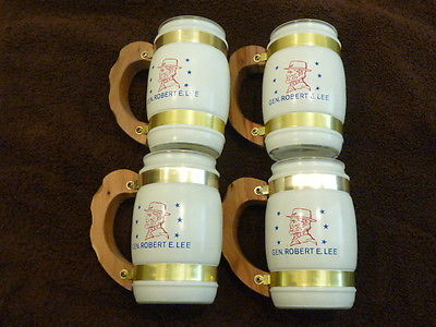 Set of 4 Vintage (1969) Siesta Ware Special Order Wood Handle Glass Beer Mugs