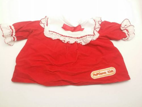 Vintage 1980's Popcorn Kids Doll Red and White Velvet Dress with Red Ribbon Bow